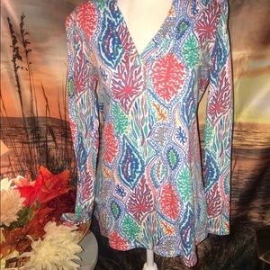 Lilly Pulitzer Coral Wreath V Neck Tunic Top sz. S